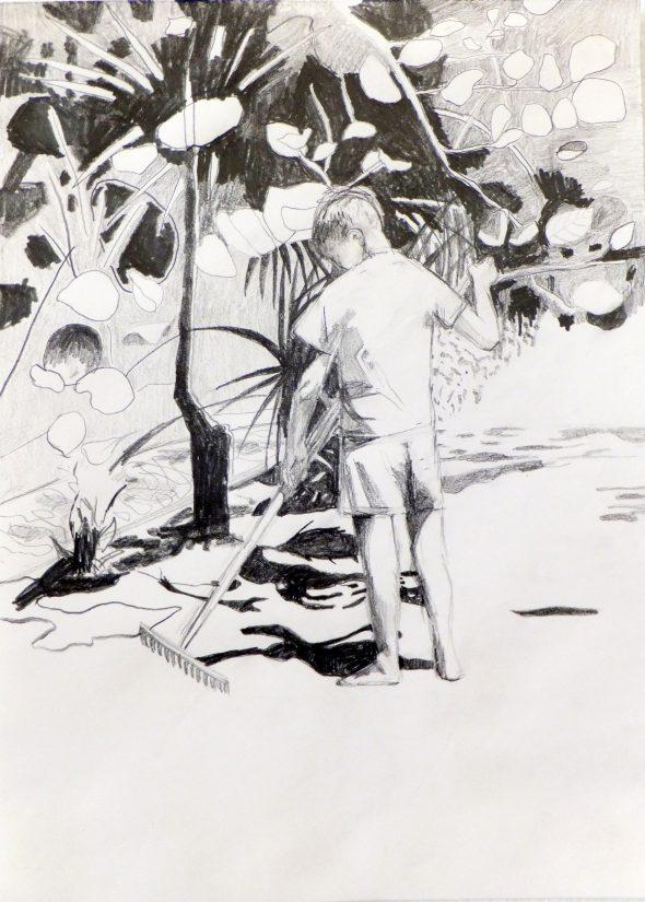 Kòrsou tekening / potlood op papier / 30 x 42 cm / 2014