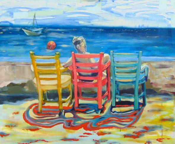 Sitting On The Dock / olieverf op doek / 100 x 120 cm / 2018